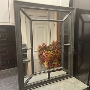 Large Black Window Style Wall Mirror Enchanted Window Mirror Black Wall Mirror
