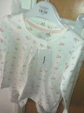 JASPER CONRAN BABY GIRL FLORAL PINK AND WHITE PYJAMAS SET 18-24 MONTHS GORGEOUS!