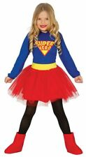 Girls Childrens Superhero Supergirl Fancy Dress Costume Book Day Outfit