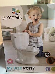 Summer Infant My Size Potty Toilet Training Seat Flush Sound Baby Toddler -White