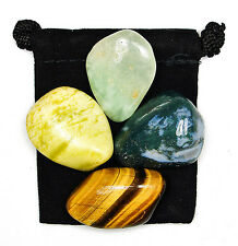 NATURE & EARTH CONNECTION Tumbled Crystal Healing Set  = 4 Stones + Pouch + Card