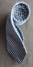 DANIEL HECHTER WOVEN SILK TIE IN NAVY BLUE WITH LIGHT BLUE MICRO CIRCLES NMCOND
