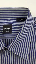 HUGO Boss LARGE Shirt STRIPED Multicolor GRAY Blue MENS Size FITTED Slim SZ Man*