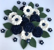 Navy Blue & Ivory Roses Wedding Flowers Cake Decorations Edible Cake Toppers