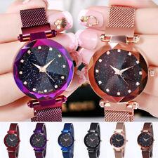 Frauen-Sternenhimmel-Uhr-Quarz-rostfreie Schnallen-Kristall-analoge Armbanduhr
