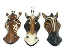 Giraffe Horse Antelope Hand Carved Wooden Mask Safari Wall Hanging 8 inches