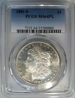 1881 S Silver Morgan Dollar PCGS MS 64 PL Proof Like Graded Coin Mirrors Gem