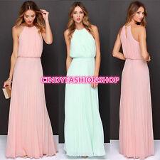 New Women Sleeveless Maxi Long Chiffon Beach Ball Gown Evening Party Dress