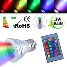 2PCS RGB 3W E27 ES LED Bulb Spotlight Lamp + 2x 16 Color Changing IR Remote