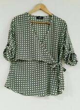 Miss Valley Girl Size 14 Green Pattern 3/4 Sleeve Wrap Top Breastfeeding