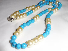 Handmade Ladies Jewellery White Faux Pearl Blue Natural Stone Bead Necklace 20