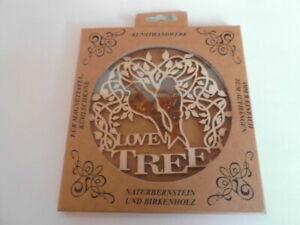 Suncatcher Love Tree Birkenholz und Naturbernstein, Fensterdeko