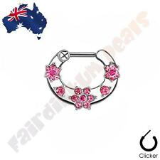 316L Surgical Steel Septum Clicker Ring with Pink Cubic Zirconia Gem Flowers
