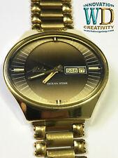Vintage Oval Mido Ocean Star men's Watch 20mm S Steel Bracelet 23k GOLD plated.
