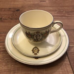 Coronation 1937 George VI Set Cup Saucer And Small Plate Unmarked Art By Vandyk