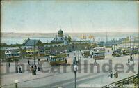 LIVERPOOL George's Pier Head Pierhead Postcard LANCASHIRE Bunney's Ltd. Tram