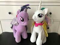 """Pair of My Little Pony Build A Bear BAB Unicorn Purple and White Plush Toy 16"""""""