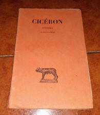 CICÉRON CICERONE CATILINAIRES CATILINARIE LES BELLES LETTRES 1926 H. BORNECQUE