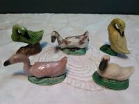 Set of 5 Vintage porcelain Chinese mud duck collectible figurines miniature