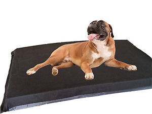 KosiPet Extra Large Deluxe Waterproof High Density Foam Pad Black Fleece Dog Bed