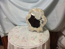 1950 Beautiful Venetian Vanity Mirror w/Glass Frame and Wooden Back