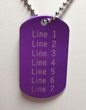 1 PERSONALIZED Dog Tag Necklace Horizontal Word PURPLE