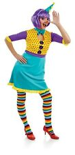 Womens Clown Girl Costume S -  L Ladies Funny Circus Fancy Dress + Stockings