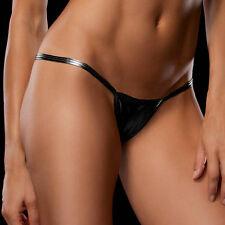 Sexy Thong G-string Panties Brief Bikini Leather Lingerie Underwear black a1sz