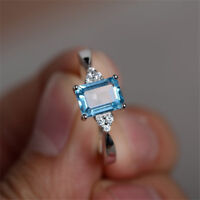 Aquamarine Women Men 925 Silver Ring Wedding Engagement Party Trendy Size 6-10