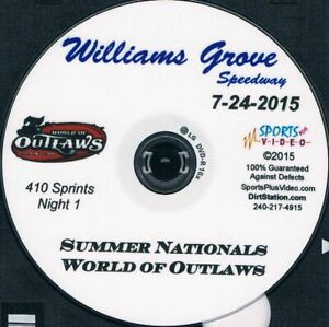 World Of Outlaws Sprintcars DVD From Williams Grove Speedway 7-24+25-2015