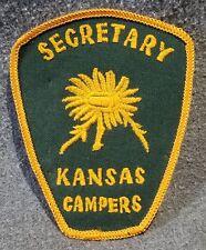 "LMH PATCH Badge KANSAS CAMPERS Assn SECRETARY NCHA RVers Chapter Sunflower 3.75"""