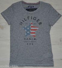 Tommy HILFIGER Girls T-shirt grigio mélange NUOVO taglia 152/12 Y