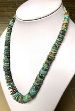 """Santo Domingo Graduated Turquoise Sterling 8-16mm Disc  Necklace 20.5"""""""