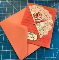 Sympathy Card Red Rose On Doily Bow Red Rhinestone Pink Bow Handmade