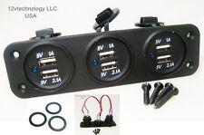 Blue USB 9.3 Amp Output Charging Station Panel Plug Mount Marine 12V Outlet