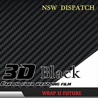 "3D Black Carbon Fiber Fibre Cars Vinyl Wrap External Sticker 1.51Mx30CM 60""x12"""