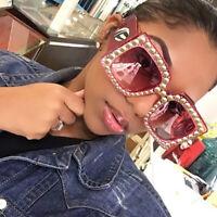 LE Steampunk Rivets Sunglasses Women Oversize Square Italian Design Big Mirror