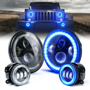 "Xprite 7"" Pair CREE LED Headlight + Pair Fog Light Combo Blue for Jeep 07-18 JK"