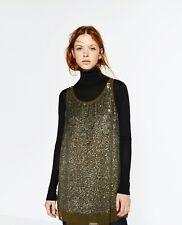Zara Vestido lentejuelas degradé color khaki talla M