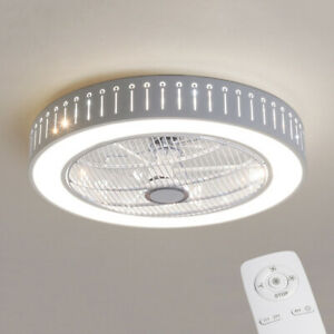 Ceiling Fan W/ Light Remote Control LED Dimmable Bedroom Office DIY Modern Lamp