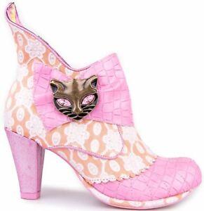 Irregular Choice Miaow Pink Orange Womens Ankle Boots