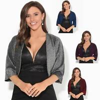 Women Ladies Party Lurex Shrug 3 4 Sleeve Metallic Evening Bolero Top Jacket