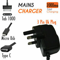 UK 5V/2.1A Wall Mains Charger for Samsung Galaxy Micro, Type C,Tab & Nokia 3310