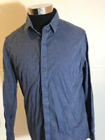 Banana Republic Men's Navy Blue Polka Dot Slim Fit Long Sleeve Shirt Large A7