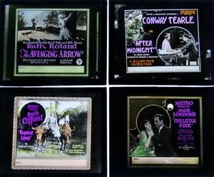 Four Early Glass Movie Slides (Group 10)