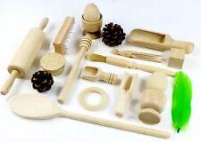 Selección de madera cesta del Tesoro. 20 artículos. Montessori Waldorf juguetes de madera sensorial