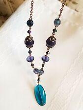 Vintage style filigree brass and huge rhinestones necklace strand multi facet
