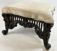 "Vintage Three Hands HEAVY Cast Iron Base Victorian Reproduction 13"" Foot Stool"