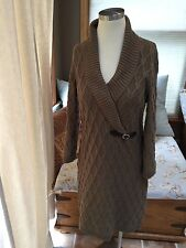 Calvin Klein Brown Chain Cable Shawl Collar Sweater Dress Buckle Large EUC