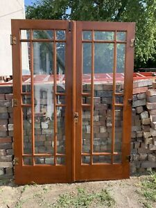 """Antique Architectural Salvage Wood Glass Art Deco Style French Doors 60"""" 1930's"""